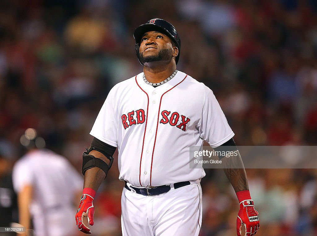 Red Sox designated hitter David Ortiz is upset after striking out int the fifth inning. The Boston Red Sox hosted the Baltimore Orioles in an MLB regular season game at Fenway Park.