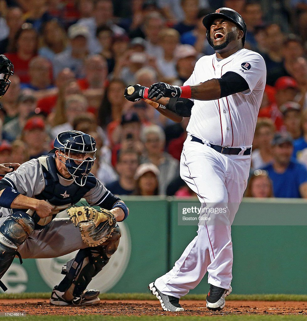 Red Sox designated hitter David Ortiz reacts after fouling a ball off of his foot in the second inning. He would continue his at bat. The Boston Red Sox hosted the New York Yankees in an MLB game at Fenway Park.