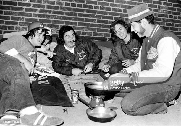 Red Sox fans Norm Busby of Franklin Kevin Gallagher of Athol Dave Blanchard of Franklin John Black of Braintree and Tony Plantier of Lanesborough...