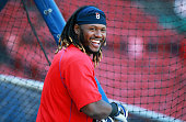 Red Sox first baseman Hanley Ramirez flashes a big smile around the cage during batting practice The Boston Red Sox hosted the Tampa Bay Rays in a...