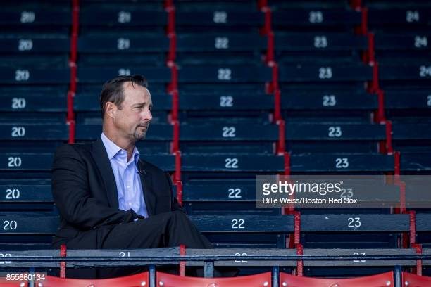 Red Sox Foundation chairman Tim Wakefield of the Boston Red Sox looks on before a game against the Houston Astros on September 29 2017 at Fenway Park...