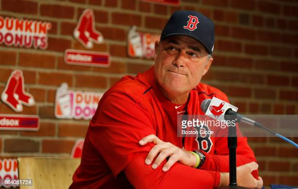 Red Sox manager John Farrell answers a question during a press conference at Fenway Park in Boston on Apr 2 the day before opening day