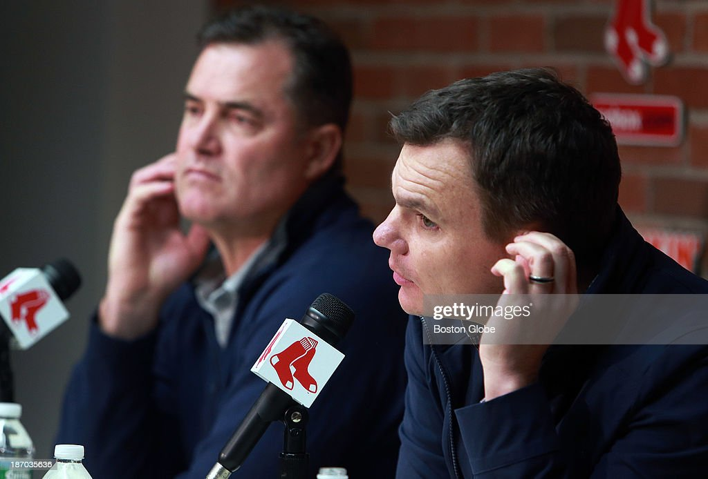 Red Sox manager John Farrell, left, and general manager Ben Cherington, right, met with reporters this afternoon at Fenway Park to discuss the team's off season plans.