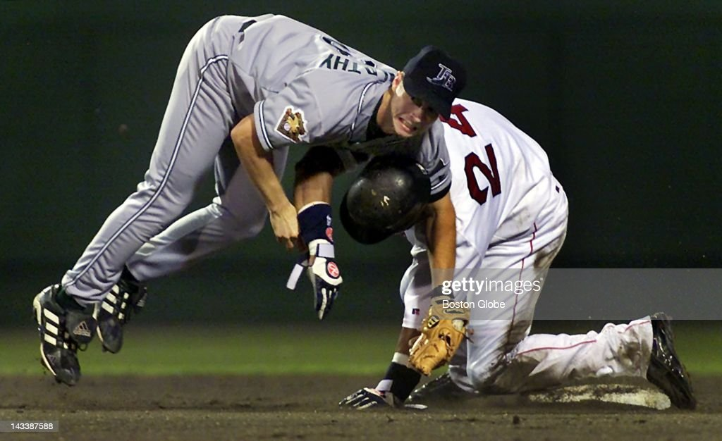 Red Sox Manny Ramirez kept teammate Dante Bichette from hitting into a double play with a rolling block on Devil Rays' 2B Brent Abernathy in the sixth inning.