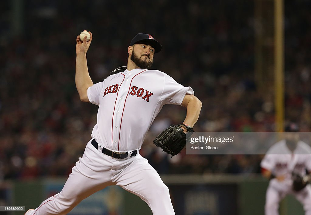 Red Sox pitcher Brandon Workman pitches in the eighth inning. The Boston Red Sox host the St. Louis Cardinals at Fenway Park for Game Six of the 2013 Major League Baseball World Series, Oct. 30, 2013.