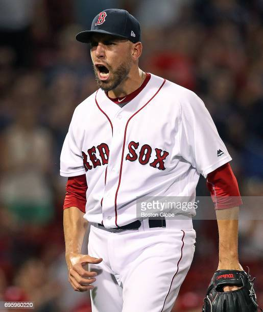 Red Sox pitcher Matt Barnes reacts after striking out the final batter of the top of the 10th inning The Boston Red Sox host the Philadelphia...