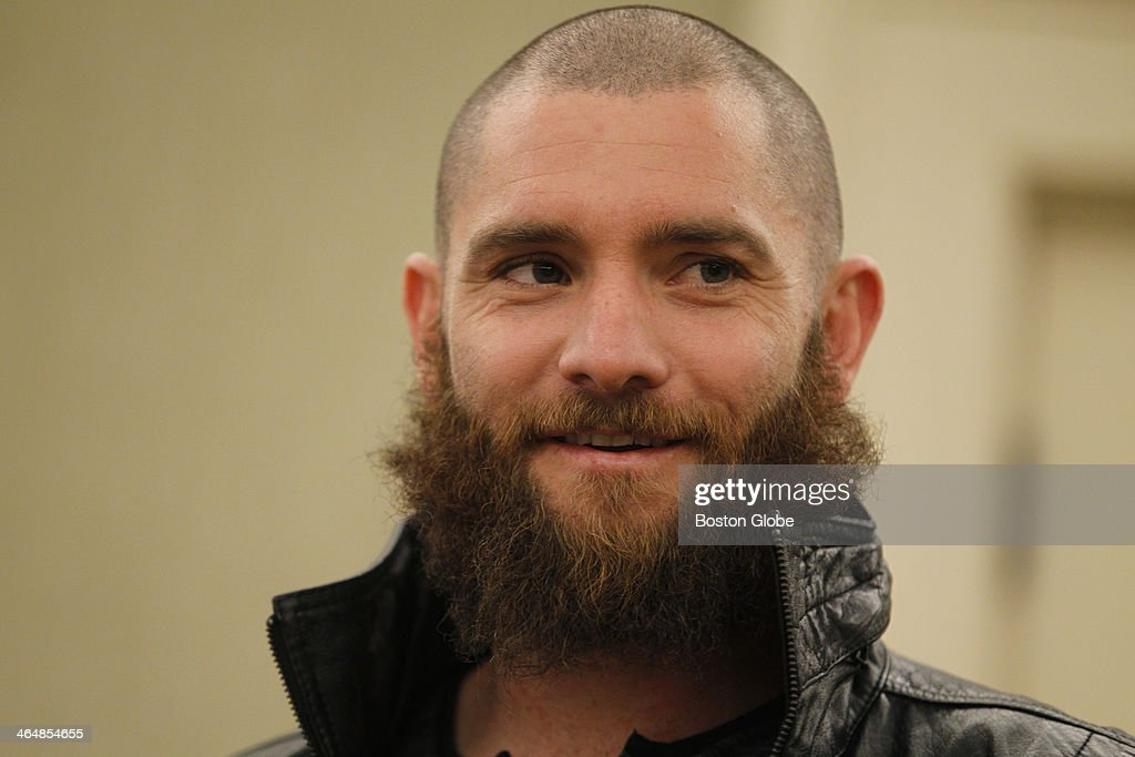 Red Sox player Jonny Gomes talks to the media during a press availability at the Westin Copley Plaza in Boston, Jan. 23, 2014.