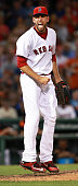 Red Sox relief pitcher Matt Barnes reacts after he struck out the Giants' Brandon Belt to end the top of the seventh inning The Boston Red Sox hosted...