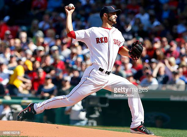 Red Sox starting pitcher Rick Porcello delivers against the Washington Nationals during the first inning of the Red Sox home opener at Fenway Park in...