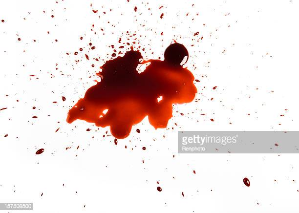 Red spatter on white background