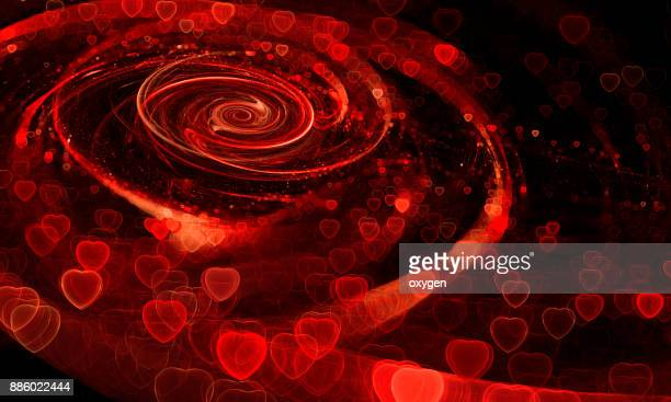 Red Spiral Abstract background with heat bokeh