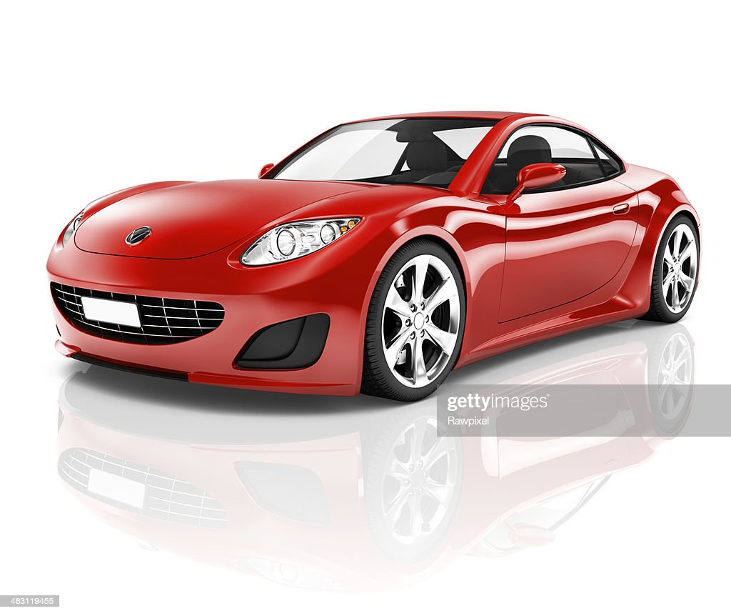 3D Red Sport Car On White Background : Stock Photo