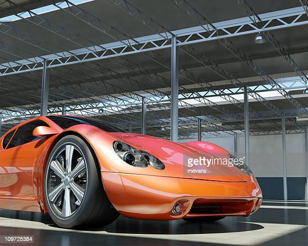 Red Sports Car in Factory