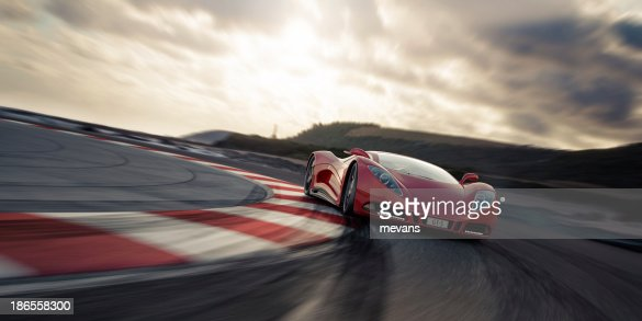 Red Sports Car on a Racetrack