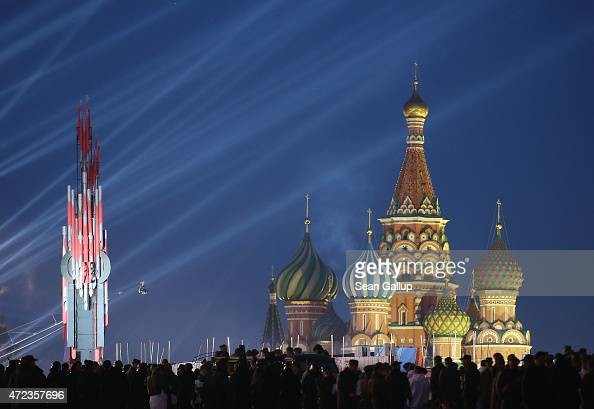 Red Square and Saint Basil's Cathedral stand illuminated during rehearsals ahead of celebraitons to mark the 70th anniversary of the victory over...