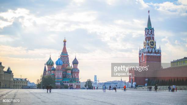 Red Square with Saint Basil's Cathedral at morning dawn, Moscow, Russia