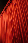 Red stage curtain, low angle view