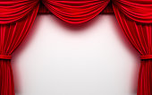 Red stage curtain with empty white background.