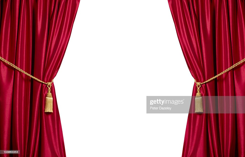 Red stain theatre curtains with white copy space : Stock Photo