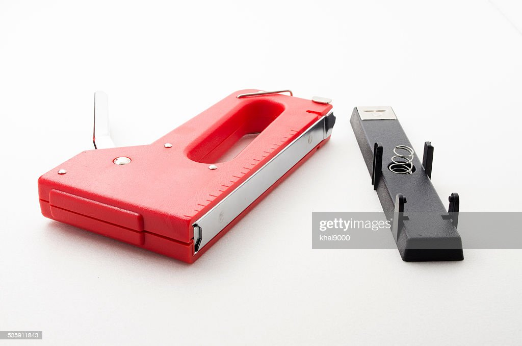 Vermelho agrafador Arma : Foto de stock