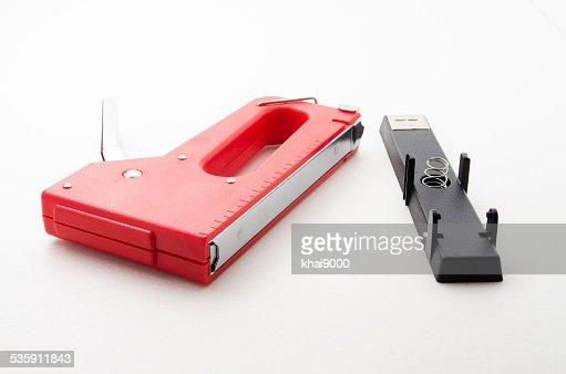 Red Stapler Gun : Stock Photo