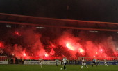 Red Star fans celebrate during the Serbia's national first leg Cup Semi final soccer match Red Star against Partizan on March 21 2012 in Belgrade...