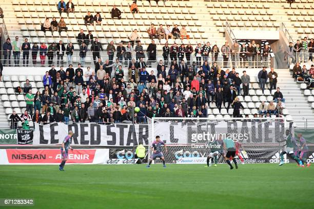 Red Star fans during the Ligue 2 match between Red Star FC and Bourg en Bresse at Stade Jean Bouin on April 21 2017 in Paris France