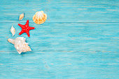 red starfish and sea shells over wooden rustic planks