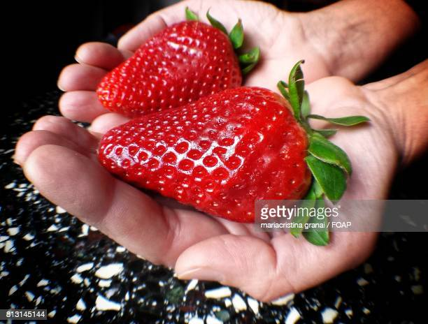 Red strawberry in hand