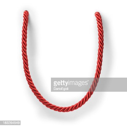 Red string on white background