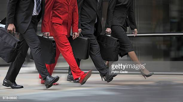 red suit walking