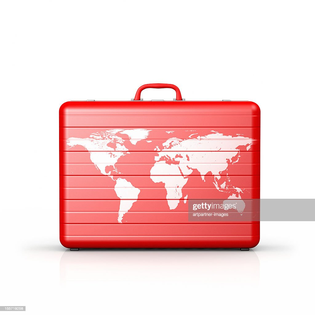 Red suitcase with a white world map on it : Stock Photo