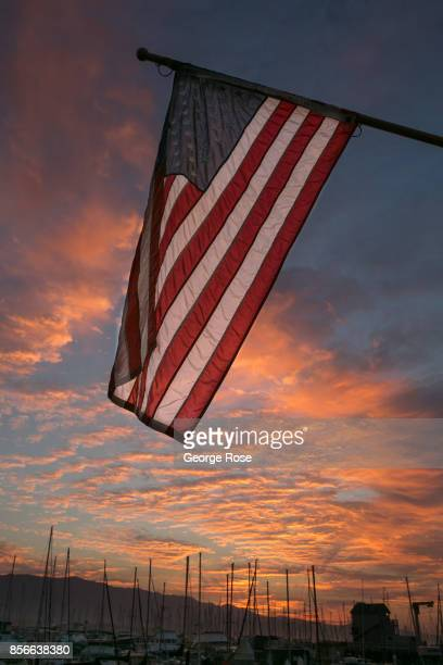 A red sunrise at the downtown harbor is viewed on September 1 in Santa Barbara California Because of its close proximity to Southern California and...