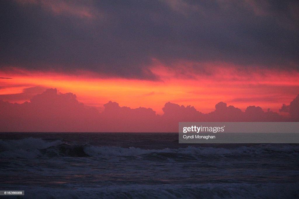 Red Sunrise over Ocean : Stock Photo