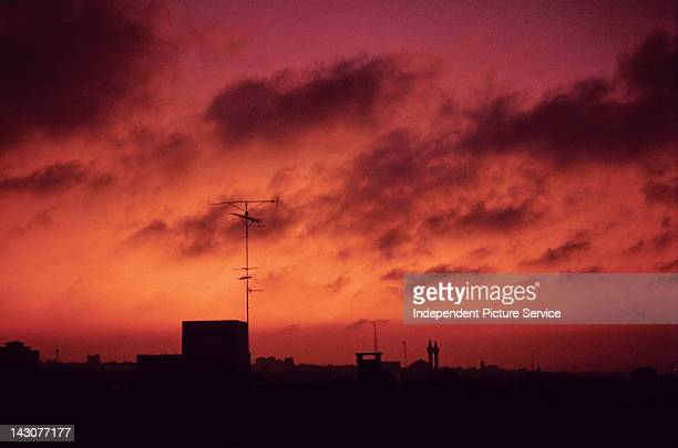 Red sunset over Amman Jordan