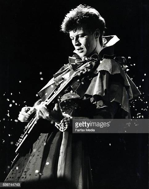 Red Symons lead guitarist of the band Skyhooks plays at the Anzac Day Concert at Festival Hall Melbourne 25 April 1983 Fairfax Picture by JOHN KRUTOP