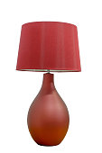 Red table lamp classic style for brightness, isolated on white background.