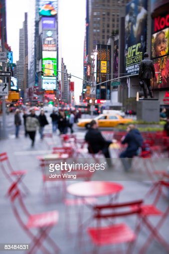 red tables and chairs at the Time Square : Photo