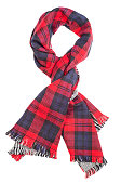 Wool red tartan plaid scarf isolated on white background. File contains a clipping path.