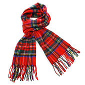 Red tartan wool winter scarf isolated on white