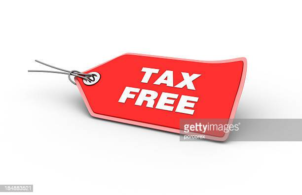 Red tax free tag with shadowed background