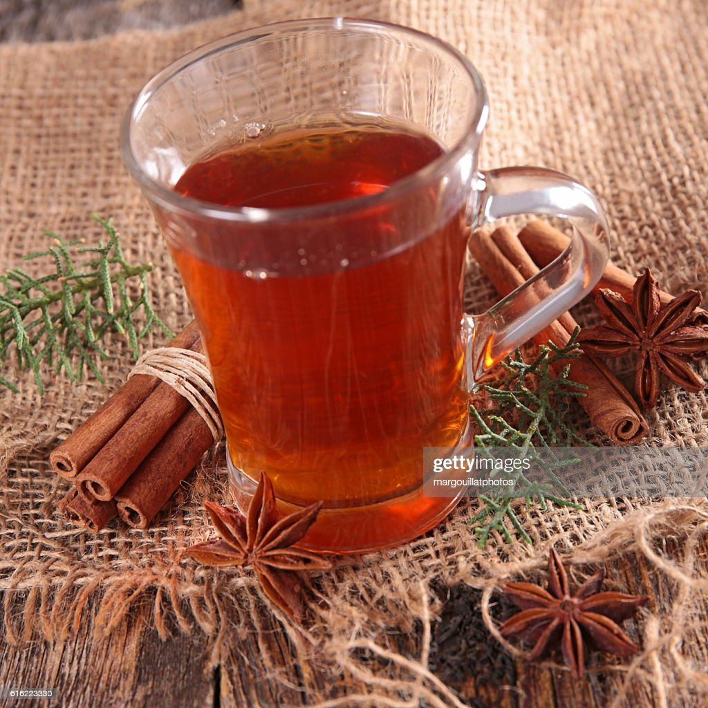 red tea and cinnamon : Stock Photo