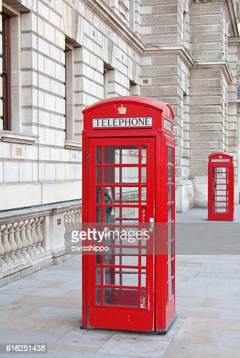 Red telephone booth in London : Stock Photo