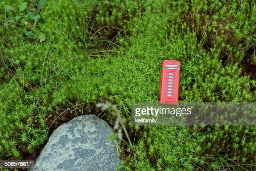 Red telephone box in the moss : Stock Photo
