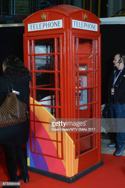 A red telephone box is seen during the MTV EMAs 2017 held at The SSE Arena Wembley on November 12 2017 in London England