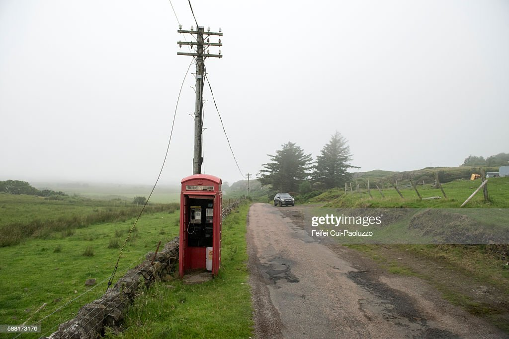 Red telephone box near Ulva of Mull in Scotland