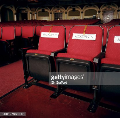 Red Theater Seats With Reserved Signs Stock Photo Getty