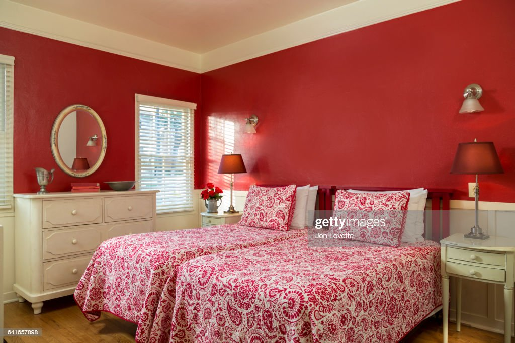 Red Themed Bedroom Part - 31: Red Themed Bedroom With Patterned Bedding : Stock Photo