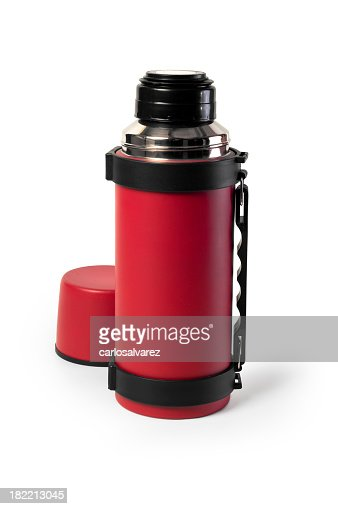 A red thermal flash with a cup