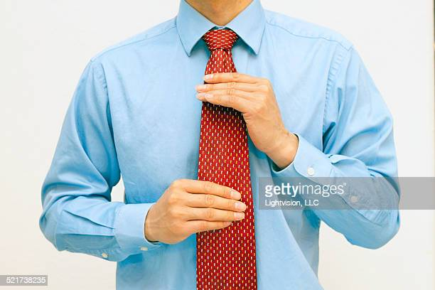 Red tie and blue shirt